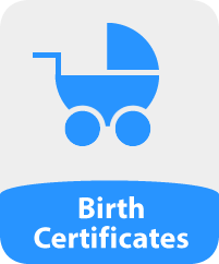 Image of a baby's carriage and the words 'Birth Certificate'
