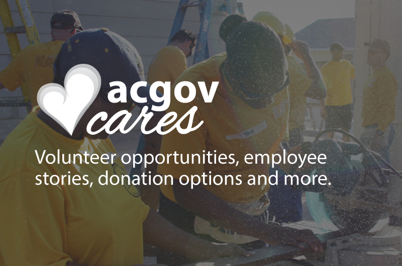 Photo of women volunteering for Habitat for Humanity with the text overlay of acgovcares and the caption County volunteer opportunities, programs, and stories about County employees giving back to their community.