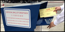 Photo of hands inserting ballot envelope in voting collection box.