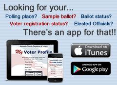 Ad for the My Voter Profile app on iTunes annd Android.